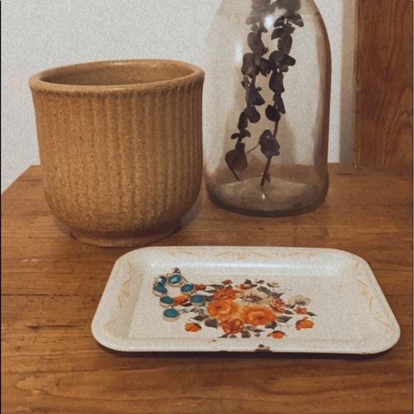 Vintage Floral Jewelry Plate Metal Tin Trinket